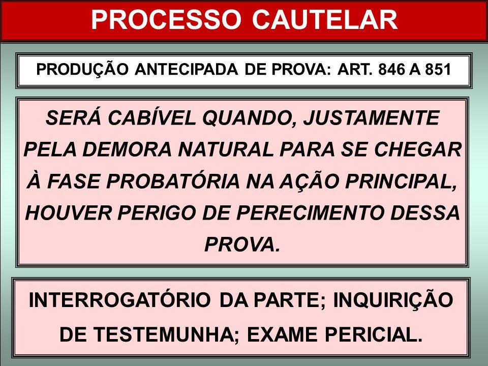 PRODUÇÃO ANTECIPADA DE PROVA: ART. 846 A 851 PROCESSO CAUTELAR SERÁ CABÍVEL QUANDO, JUSTAMENTE PELA DEMORA NATURAL PARA SE CHEGAR À FASE PROBATÓRIA NA
