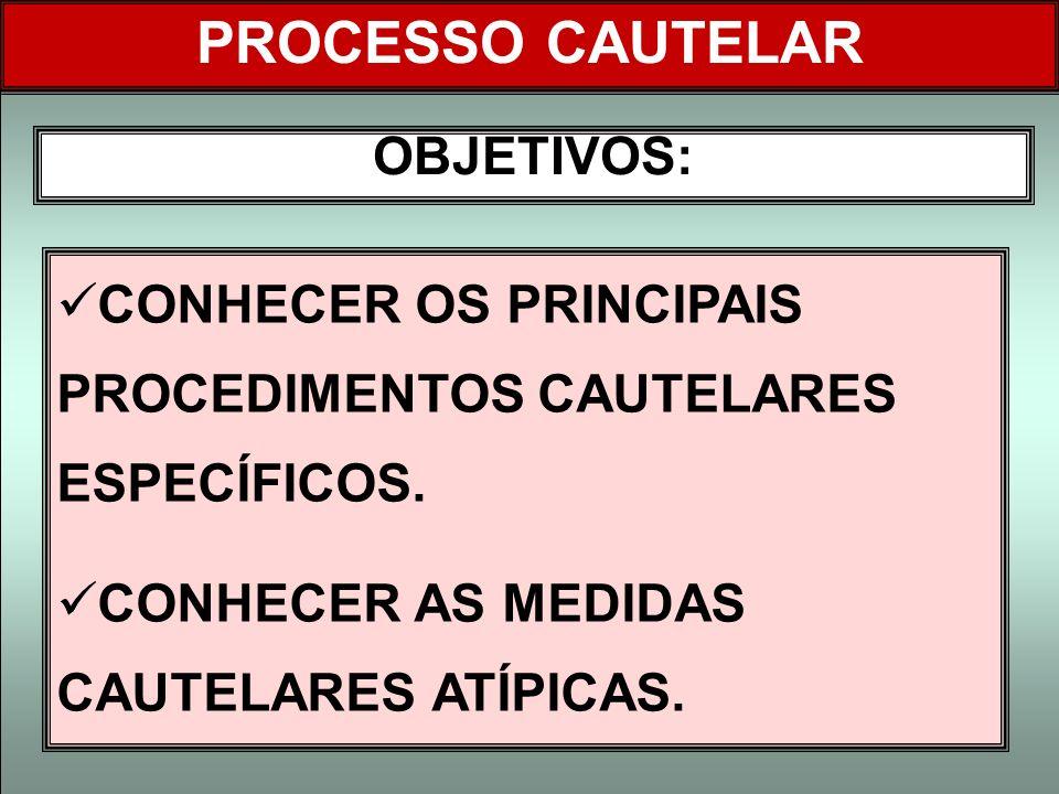 OBJETIVOS: CONHECER OS PRINCIPAIS PROCEDIMENTOS CAUTELARES ESPECÍFICOS. CONHECER AS MEDIDAS CAUTELARES ATÍPICAS. PROCESSO CAUTELAR