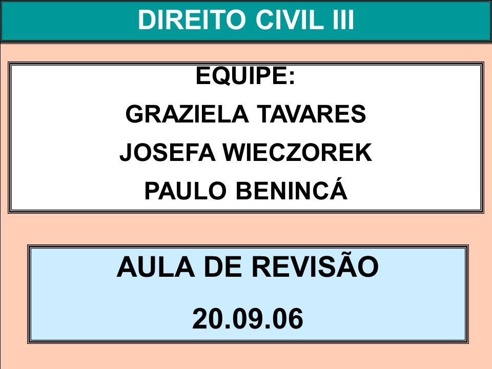 DIREITO PROCESSUAL CIVIL I EQUIPE: GRAZIELA TAVARES JOSEFA WIECZOREK PAULO BENINCÁ AULA DE REVISÃO 20.09.06 DIREITO CIVIL III