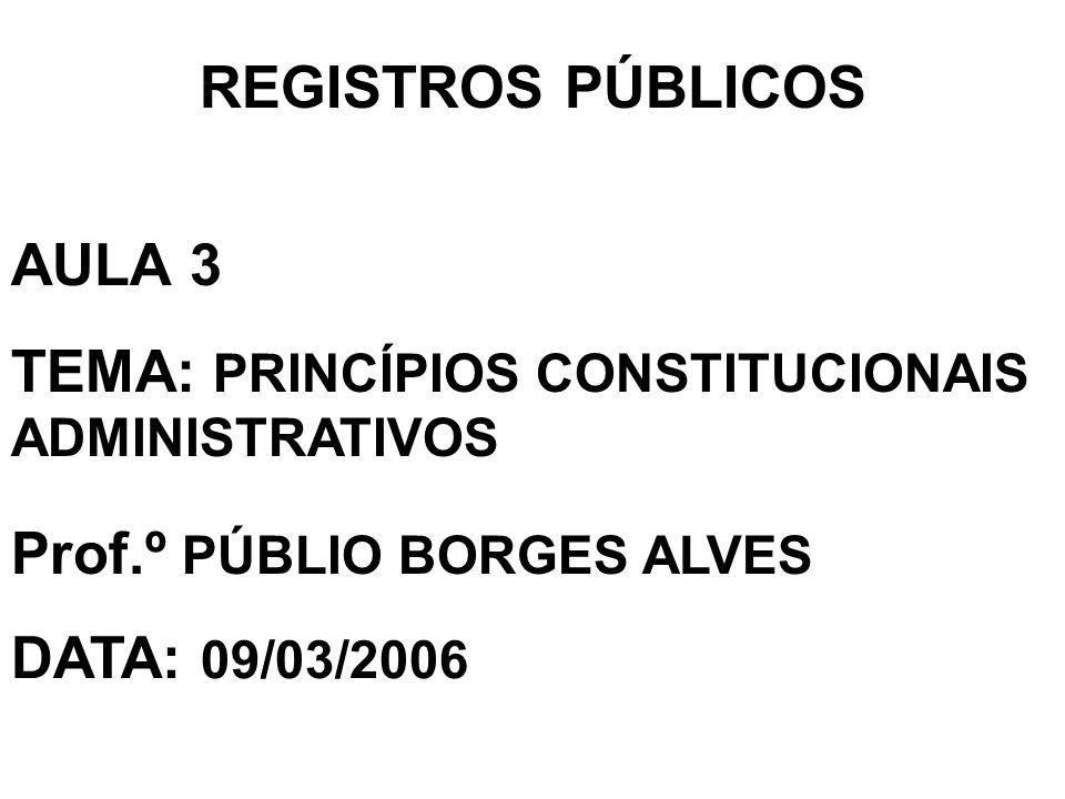 REGISTROS PÚBLICOS AULA 3 TEMA: PRINCÍPIOS CONSTITUCIONAIS ADMINISTRATIVOS Prof.º PÚBLIO BORGES ALVES DATA: 09/03/2006