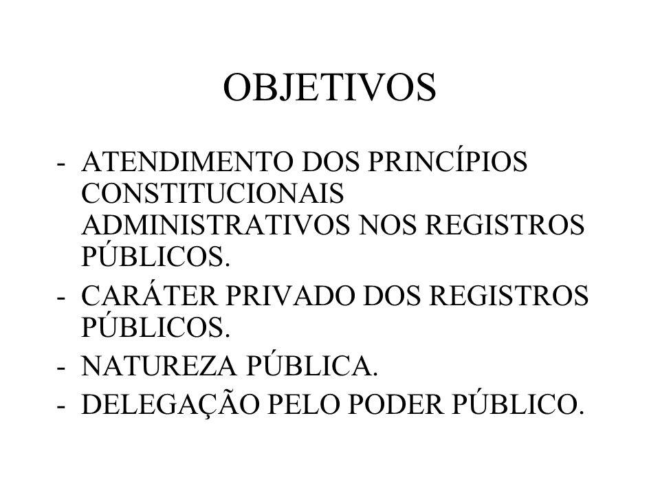 OBJETIVOS -ATENDIMENTO DOS PRINCÍPIOS CONSTITUCIONAIS ADMINISTRATIVOS NOS REGISTROS PÚBLICOS. -CARÁTER PRIVADO DOS REGISTROS PÚBLICOS. -NATUREZA PÚBLI