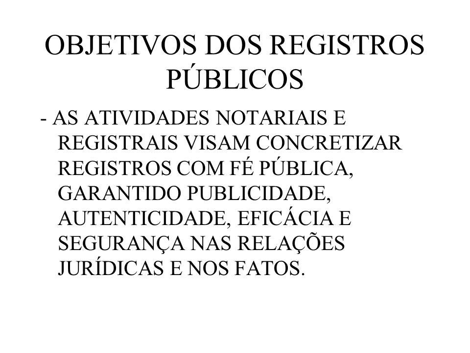OBJETIVOS DOS REGISTROS PÚBLICOS - AS ATIVIDADES NOTARIAIS E REGISTRAIS VISAM CONCRETIZAR REGISTROS COM FÉ PÚBLICA, GARANTIDO PUBLICIDADE, AUTENTICIDA