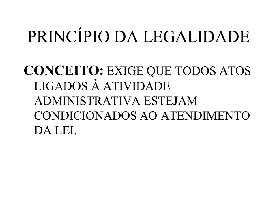 PRINCÍPIO DA LEGALIDADE CONCEITO: EXIGE QUE TODOS ATOS LIGADOS À ATIVIDADE ADMINISTRATIVA ESTEJAM CONDICIONADOS AO ATENDIMENTO DA LEI.