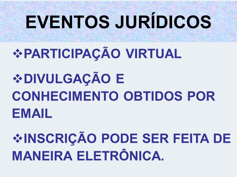 EVENTOS JURÍDICOS PARTICIPAÇÃO VIRTUAL DIVULGAÇÃO E CONHECIMENTO OBTIDOS POR EMAIL INSCRIÇÃO PODE SER FEITA DE MANEIRA ELETRÔNICA.