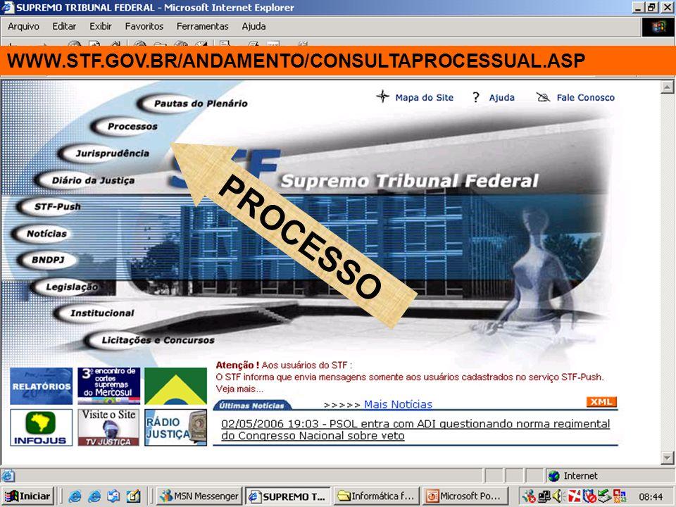 WWW.STF.GOV.BR/ANDAMENTO/CONSULTAPROCESSUAL.ASP PROCESSO