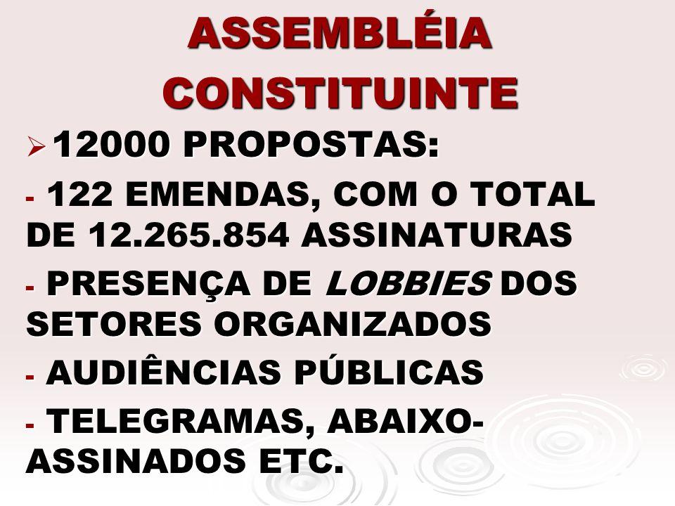 ASSEMBLÉIA CONSTITUINTE 12000 PROPOSTAS: 12000 PROPOSTAS: - - 122 EMENDAS, COM O TOTAL DE 12.265.854 ASSINATURAS - PRESENÇA DE LOBBIES DOS SETORES ORG