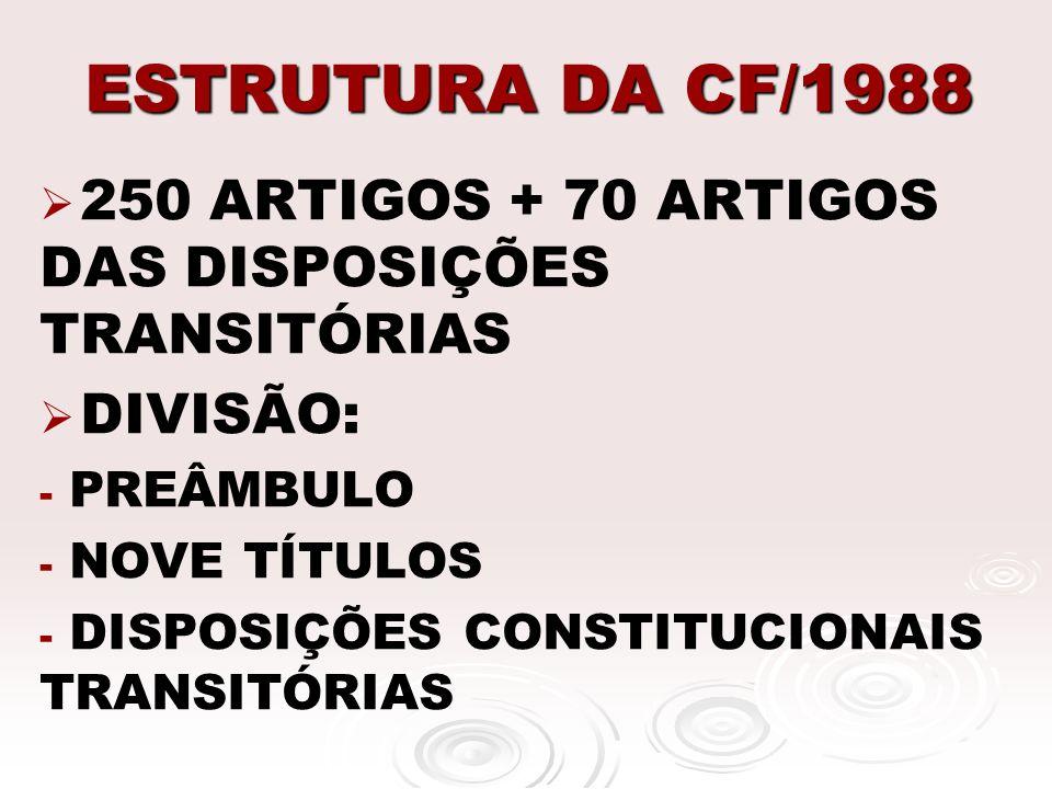 ESTRUTURA DA CF/1988 250 ARTIGOS + 70 ARTIGOS DAS DISPOSIÇÕES TRANSITÓRIAS DIVISÃO: - - PREÂMBULO - - NOVE TÍTULOS - - DISPOSIÇÕES CONSTITUCIONAIS TRA