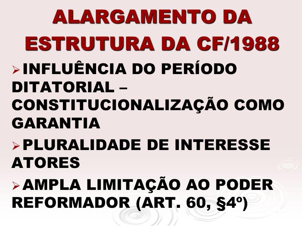 ALARGAMENTO DA ESTRUTURA DA CF/1988 INFLUÊNCIA DO PERÍODO DITATORIAL – CONSTITUCIONALIZAÇÃO COMO GARANTIA PLURALIDADE DE INTERESSE ATORES AMPLA LIMITA
