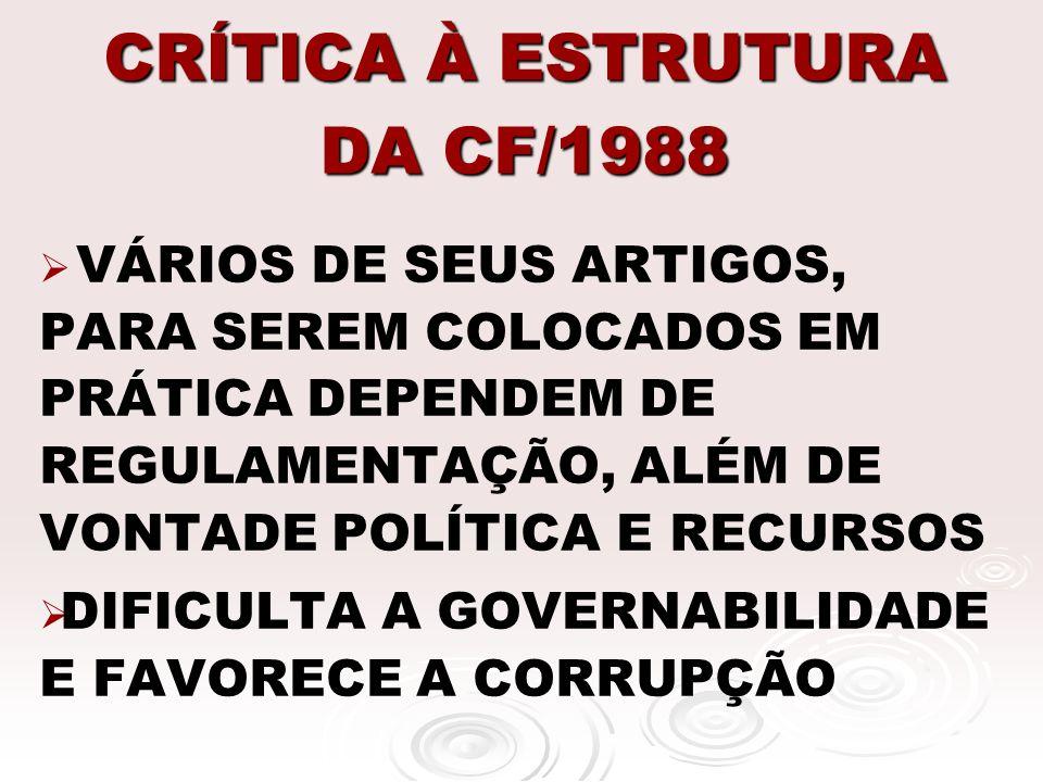 CRÍTICA À ESTRUTURA DA CF/1988 VÁRIOS DE SEUS ARTIGOS, PARA SEREM COLOCADOS EM PRÁTICA DEPENDEM DE REGULAMENTAÇÃO, ALÉM DE VONTADE POLÍTICA E RECURSOS