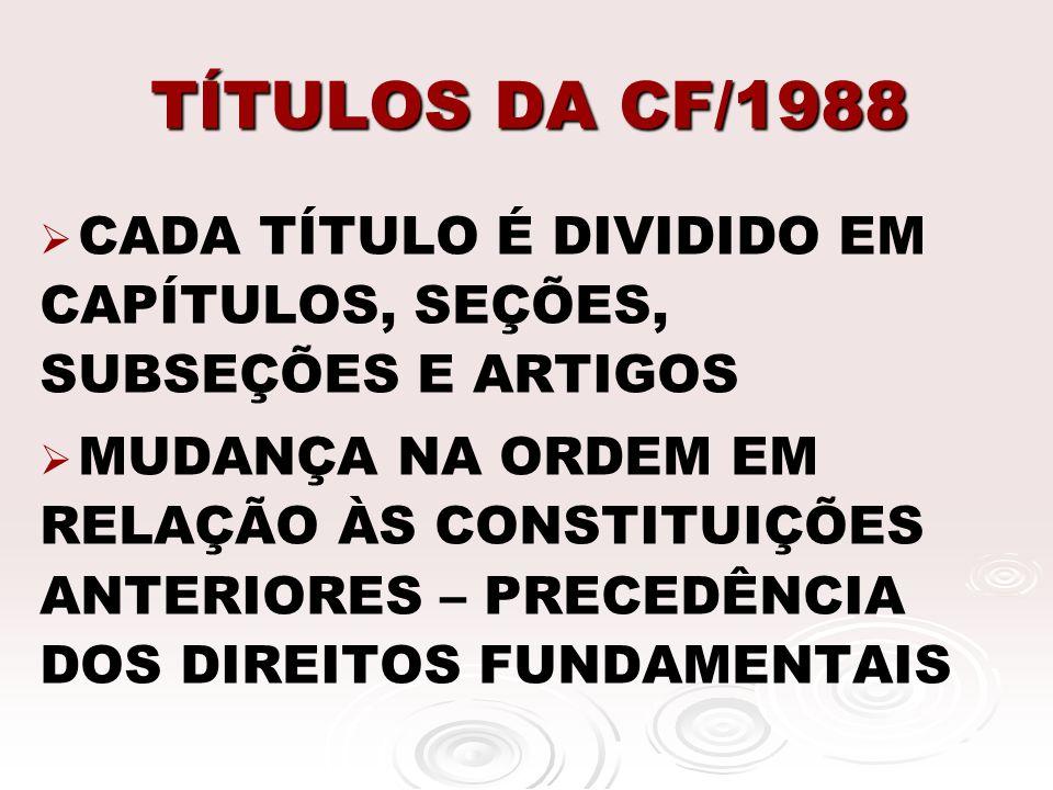 TÍTULOS DA CF/1988 CADA TÍTULO É DIVIDIDO EM CAPÍTULOS, SEÇÕES, SUBSEÇÕES E ARTIGOS MUDANÇA NA ORDEM EM RELAÇÃO ÀS CONSTITUIÇÕES ANTERIORES – PRECEDÊN