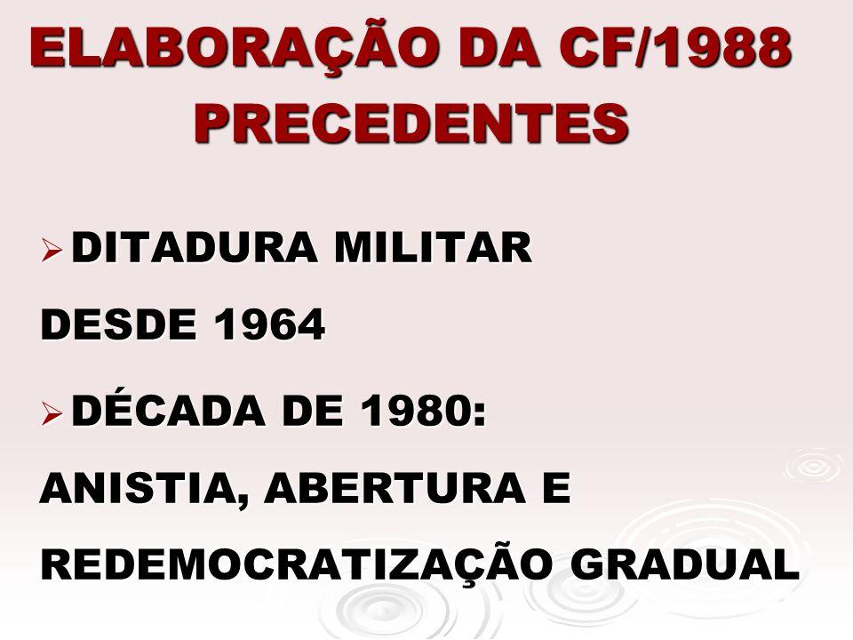 ELABORAÇÃO DA CF/1988 PRECEDENTES 1985: ELEIÇÃO DE TANCREDO E SARNEY (PRESIDENTES CIVIS) 1985: ELEIÇÃO DE TANCREDO E SARNEY (PRESIDENTES CIVIS) 1986: ELEIÇÕES PARA O PARLAMENTO 1986: ELEIÇÕES PARA O PARLAMENTO 1987: INSTALAÇÃO DE ASSEMBLÉIA CONSTITUINTE 1987: INSTALAÇÃO DE ASSEMBLÉIA CONSTITUINTE