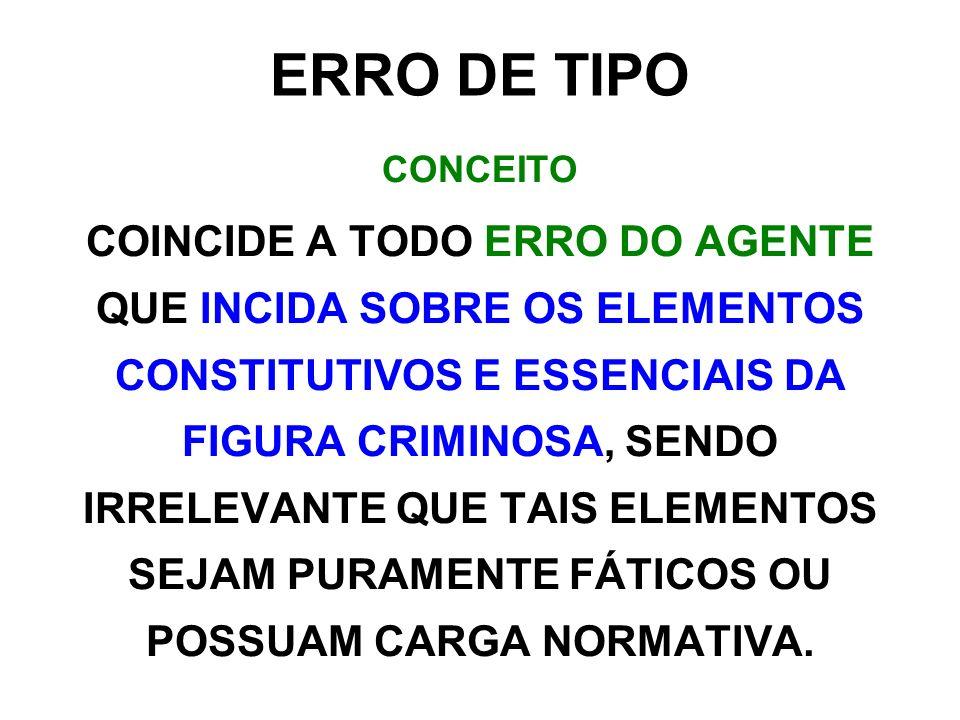 ERRO DE TIPO CONCEITO COINCIDE A TODO ERRO DO AGENTE QUE INCIDA SOBRE OS ELEMENTOS CONSTITUTIVOS E ESSENCIAIS DA FIGURA CRIMINOSA, SENDO IRRELEVANTE QUE TAIS ELEMENTOS SEJAM PURAMENTE FÁTICOS OU POSSUAM CARGA NORMATIVA.