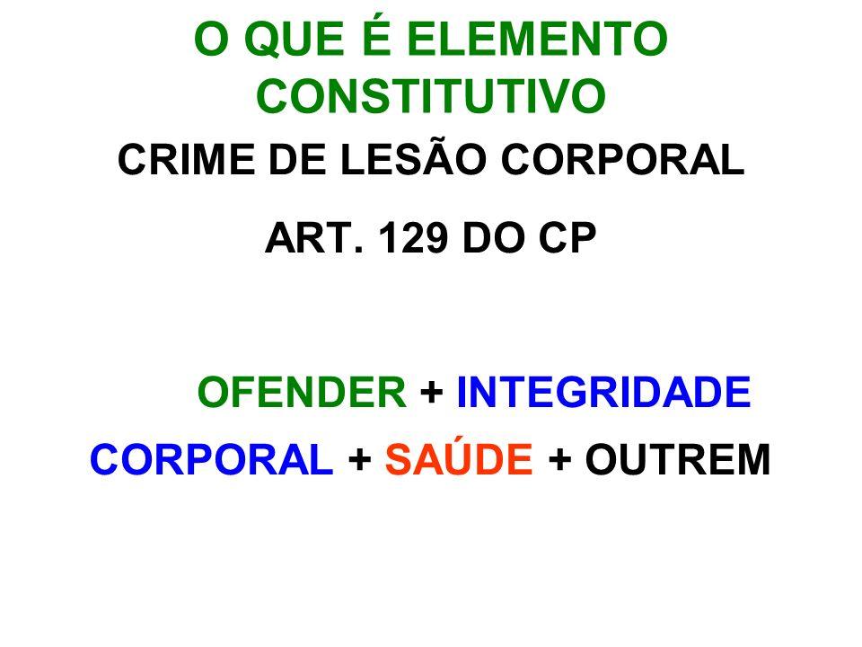 O QUE É ELEMENTO CONSTITUTIVO CRIME DE LESÃO CORPORAL ART. 129 DO CP OFENDER + INTEGRIDADE CORPORAL + SAÚDE + OUTREM