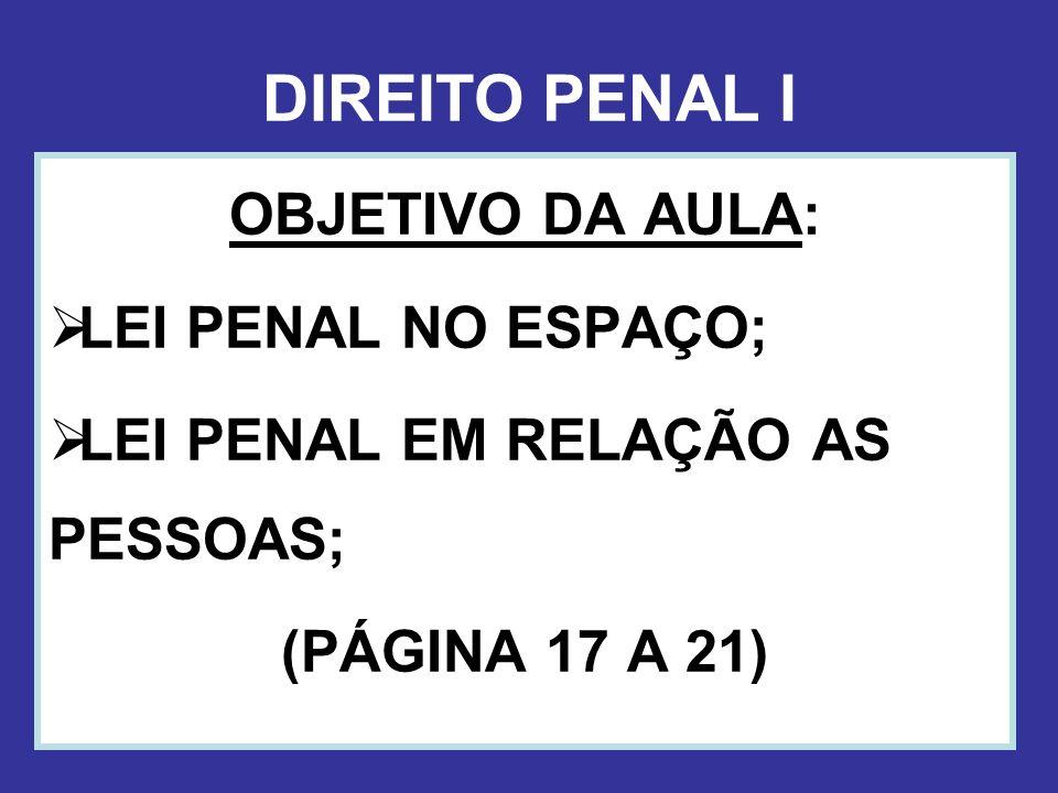 DIREITO PENAL I OBJETIVO DA AULA: LEI PENAL NO ESPAÇO; LEI PENAL EM RELAÇÃO AS PESSOAS; (PÁGINA 17 A 21)