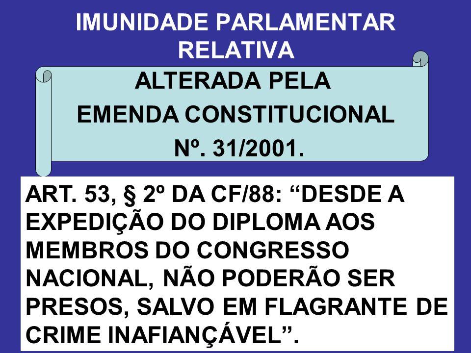 IMUNIDADE PARLAMENTAR RELATIVA ALTERADA PELA EMENDA CONSTITUCIONAL Nº. 31/2001. ART. 53, § 2º DA CF/88: DESDE A EXPEDIÇÃO DO DIPLOMA AOS MEMBROS DO CO