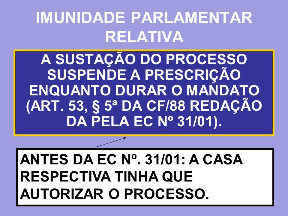 A SUSTAÇÃO DO PROCESSO SUSPENDE A PRESCRIÇÃO ENQUANTO DURAR O MANDATO (ART. 53, § 5ª DA CF/88 REDAÇÃO DA PELA EC Nº 31/01). ANTES DA EC Nº. 31/01: A C