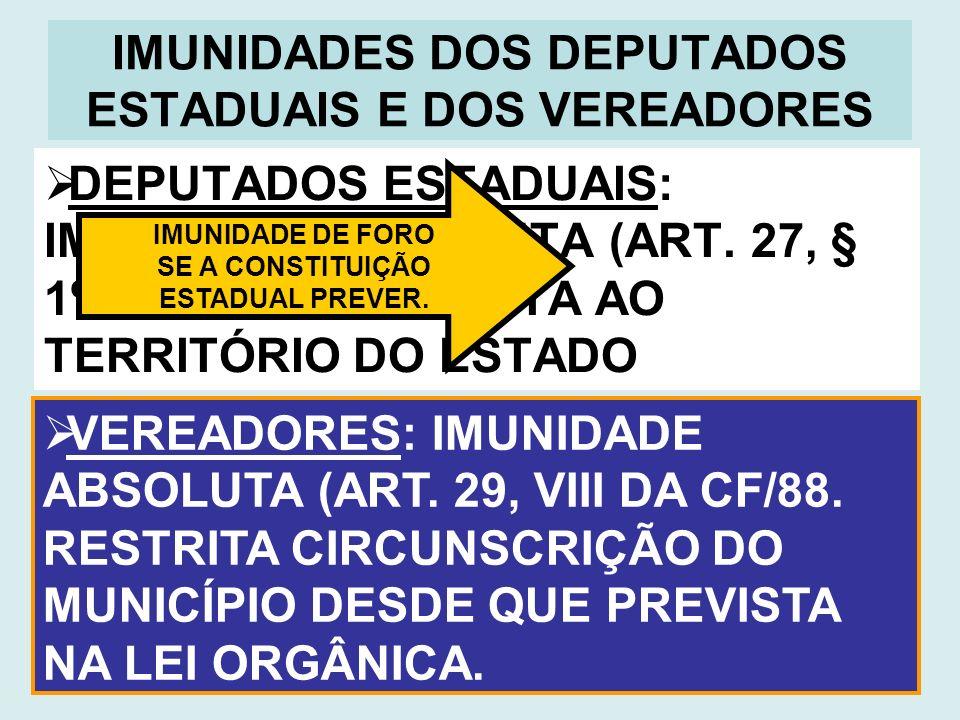 IMUNIDADES DOS DEPUTADOS ESTADUAIS E DOS VEREADORES DEPUTADOS ESTADUAIS: IMUNIDADE ABSOLUTA (ART. 27, § 1º DA CF/88. RESTRITA AO TERRITÓRIO DO ESTADO
