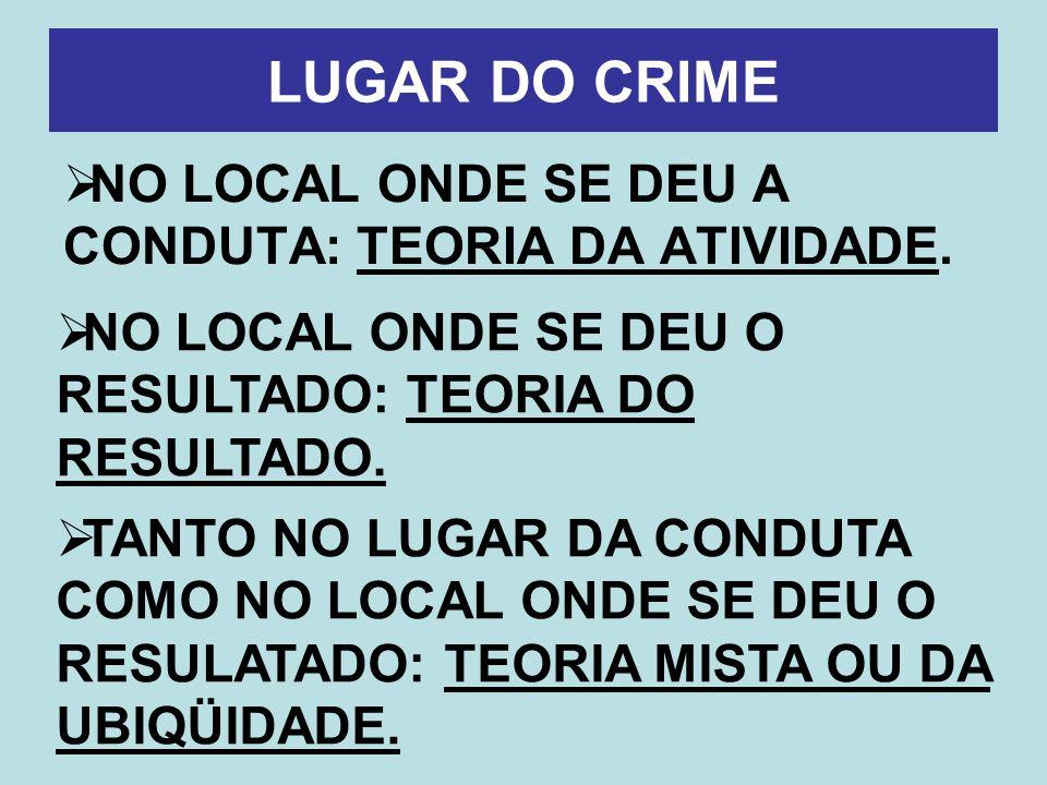 LUGAR DO CRIME NO LOCAL ONDE SE DEU A CONDUTA: TEORIA DA ATIVIDADE. NO LOCAL ONDE SE DEU O RESULTADO: TEORIA DO RESULTADO. TANTO NO LUGAR DA CONDUTA C