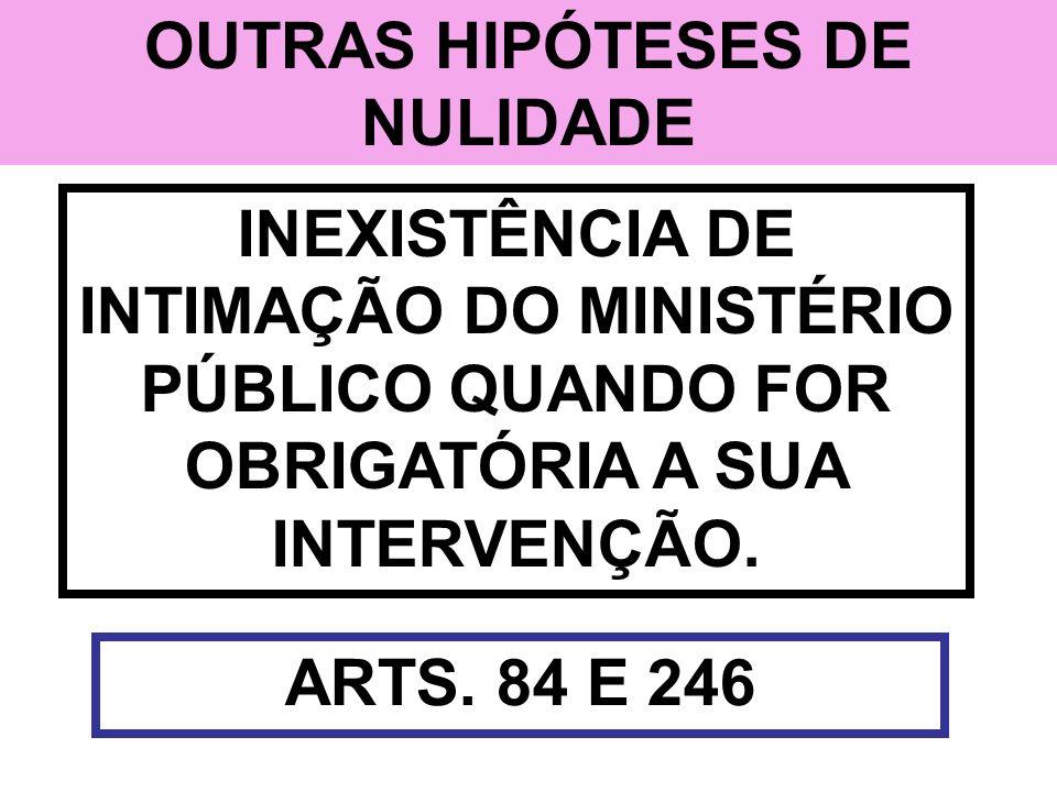 OUTRAS HIPÓTESES DE NULIDADE INEXISTÊNCIA DE INTIMAÇÃO DO MINISTÉRIO PÚBLICO QUANDO FOR OBRIGATÓRIA A SUA INTERVENÇÃO. ARTS. 84 E 246