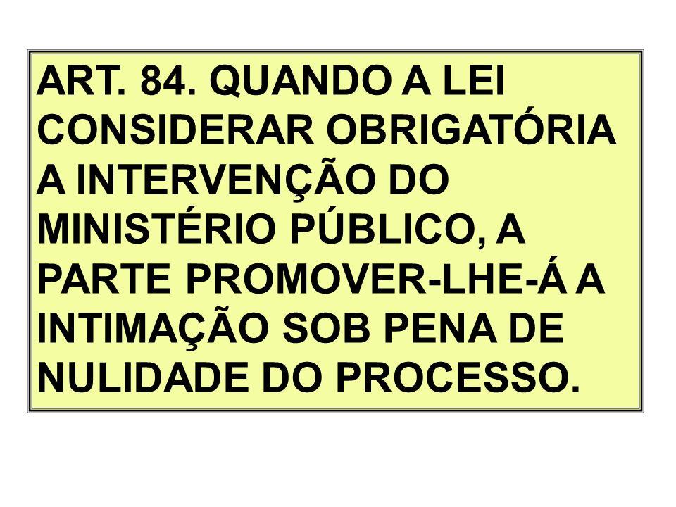 ART. 84. QUANDO A LEI CONSIDERAR OBRIGATÓRIA A INTERVENÇÃO DO MINISTÉRIO PÚBLICO, A PARTE PROMOVER-LHE-Á A INTIMAÇÃO SOB PENA DE NULIDADE DO PROCESSO.