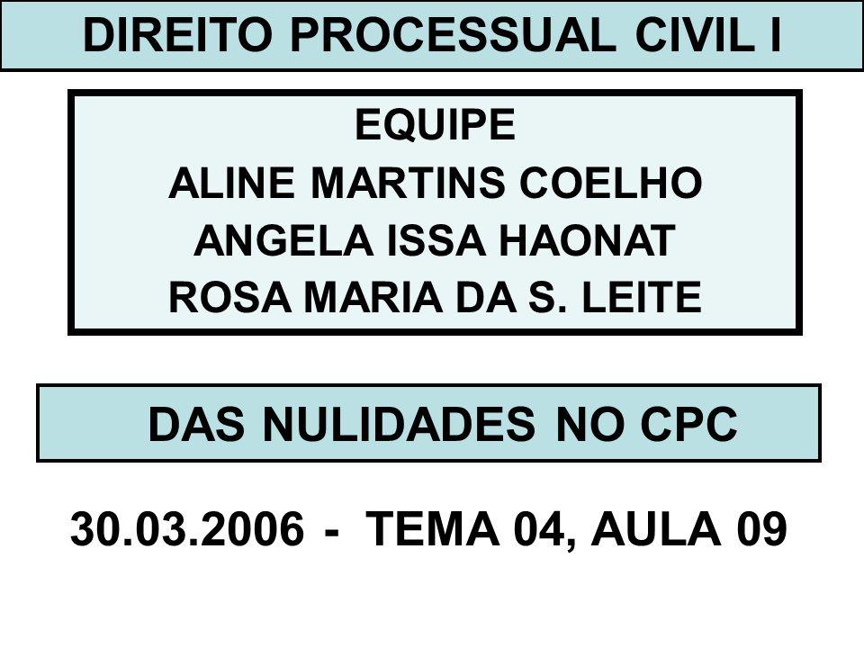 DIREITO PROCESSUAL CIVIL I EQUIPE ALINE MARTINS COELHO ANGELA ISSA HAONAT ROSA MARIA DA S. LEITE DAS NULIDADES NO CPC 30.03.2006 - TEMA 04, AULA 09