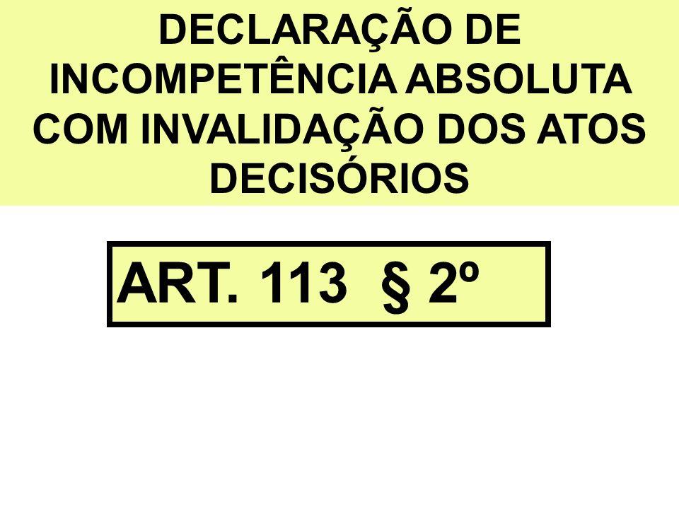 DECLARAÇÃO DE INCOMPETÊNCIA ABSOLUTA COM INVALIDAÇÃO DOS ATOS DECISÓRIOS ART. 113 § 2º