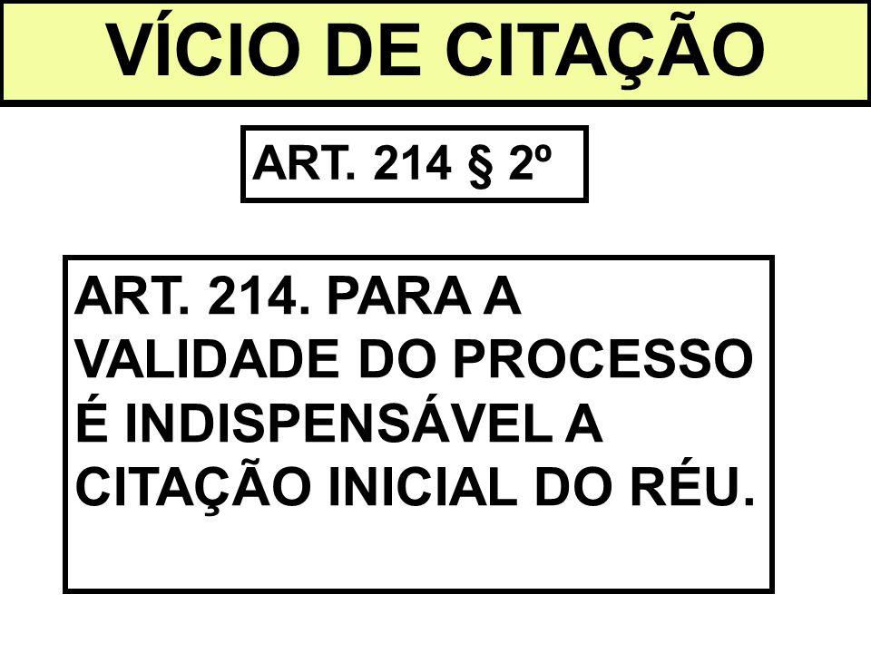VÍCIO DE CITAÇÃO ART. 214 § 2º ART. 214. PARA A VALIDADE DO PROCESSO É INDISPENSÁVEL A CITAÇÃO INICIAL DO RÉU.