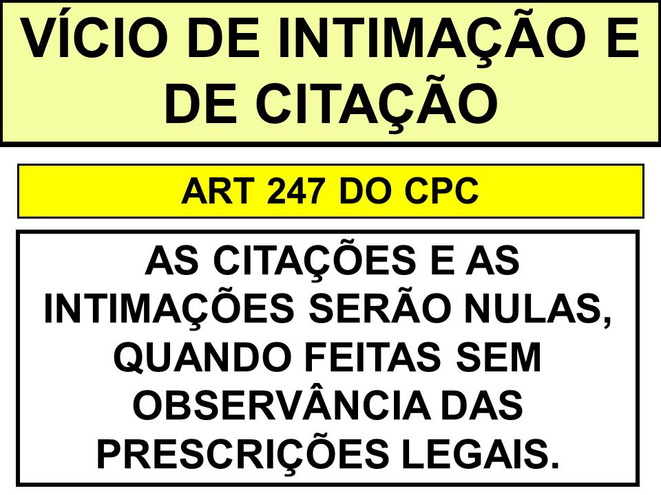 VÍCIO DE INTIMAÇÃO E DE CITAÇÃO ART 247 DO CPC AS CITAÇÕES E AS INTIMAÇÕES SERÃO NULAS, QUANDO FEITAS SEM OBSERVÂNCIA DAS PRESCRIÇÕES LEGAIS.