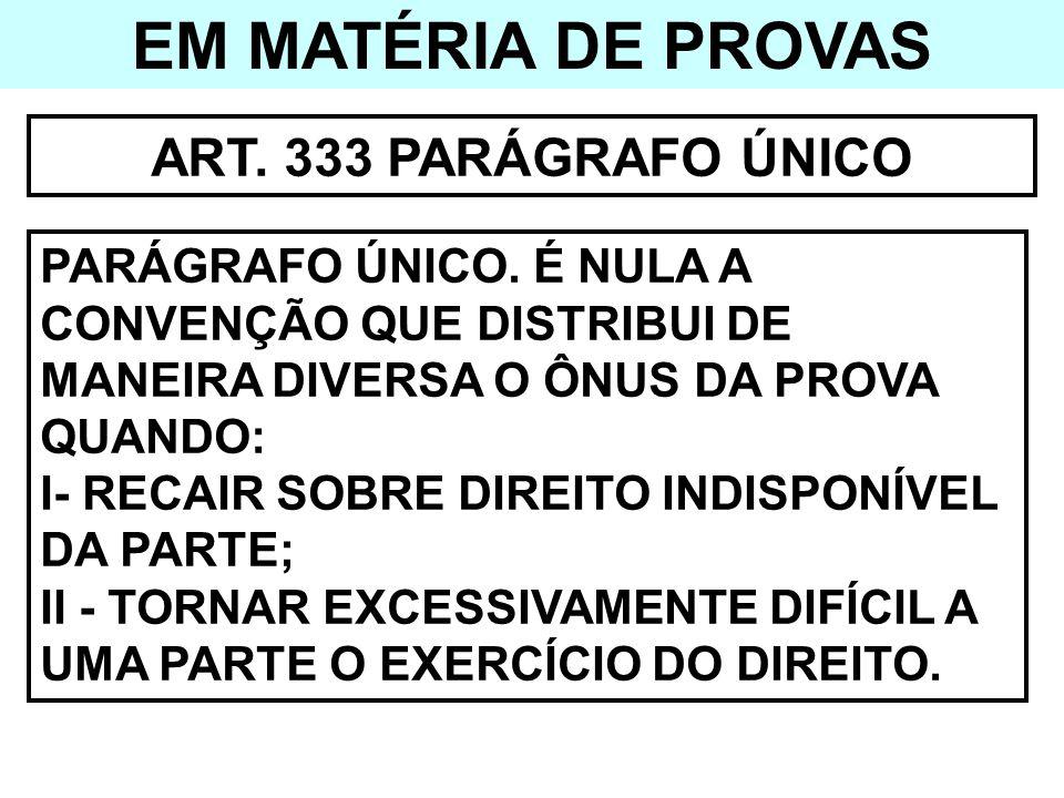 EM MATÉRIA DE PROVAS ART. 333 PARÁGRAFO ÚNICO PARÁGRAFO ÚNICO. É NULA A CONVENÇÃO QUE DISTRIBUI DE MANEIRA DIVERSA O ÔNUS DA PROVA QUANDO: I- RECAIR S