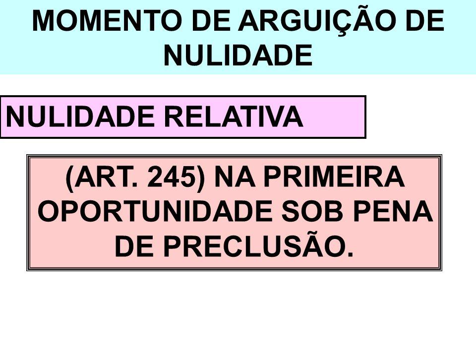MOMENTO DE ARGUIÇÃO DE NULIDADE NULIDADE RELATIVA (ART. 245) NA PRIMEIRA OPORTUNIDADE SOB PENA DE PRECLUSÃO.