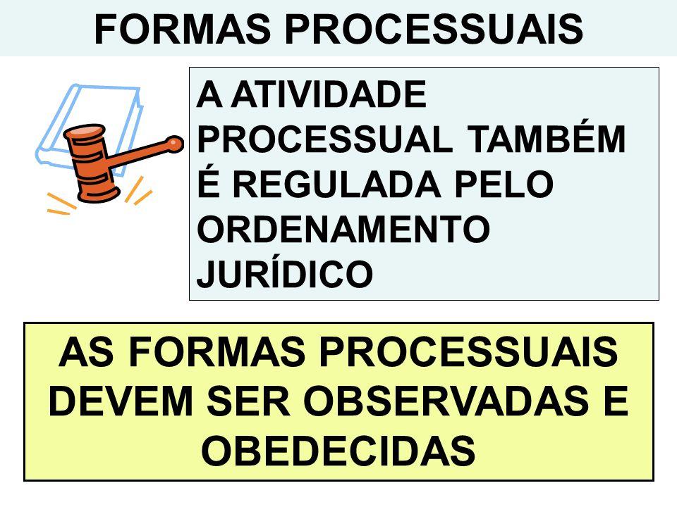 FORMAS PROCESSUAIS A ATIVIDADE PROCESSUAL TAMBÉM É REGULADA PELO ORDENAMENTO JURÍDICO AS FORMAS PROCESSUAIS DEVEM SER OBSERVADAS E OBEDECIDAS