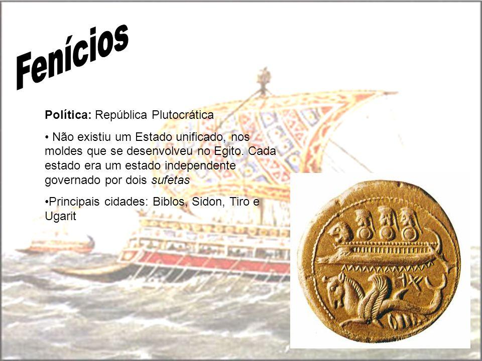 Política: República Plutocrática Não existiu um Estado unificado, nos moldes que se desenvolveu no Egito. Cada estado era um estado independente gover