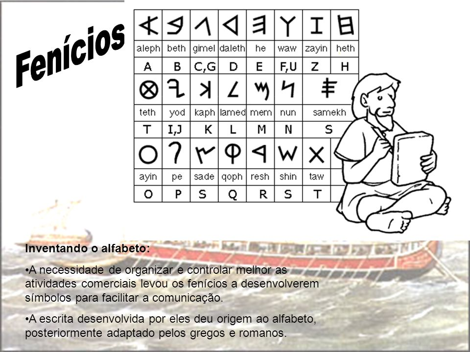 Inventando o alfabeto: A necessidade de organizar e controlar melhor as atividades comerciais levou os fenícios a desenvolverem símbolos para facilita