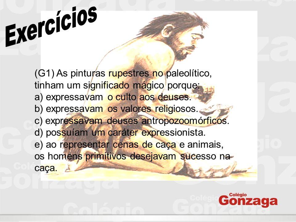 (G1) As pinturas rupestres no paleolítico, tinham um significado mágico porque: a) expressavam o culto aos deuses. b) expressavam os valores religioso