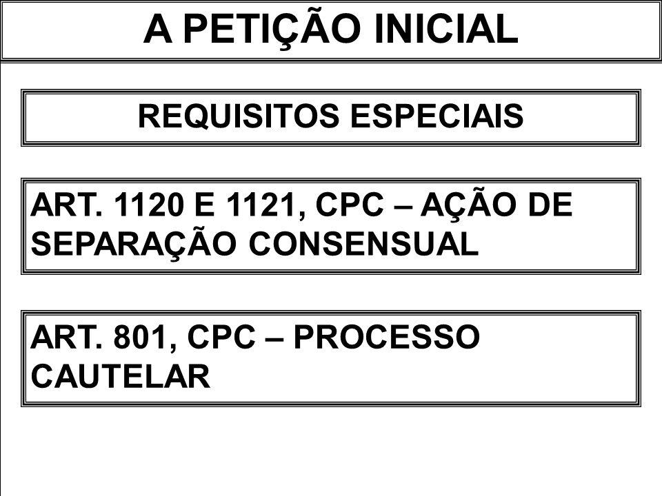 A PETIÇÃO INICIAL REQUISITOS ESPECIAIS ART. 1120 E 1121, CPC – AÇÃO DE SEPARAÇÃO CONSENSUAL ART. 801, CPC – PROCESSO CAUTELAR