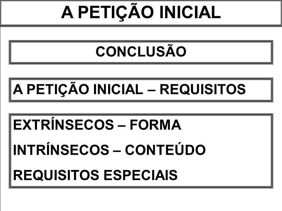 A PETIÇÃO INICIAL EXTRÍNSECOS – FORMA INTRÍNSECOS – CONTEÚDO REQUISITOS ESPECIAIS CONCLUSÃO A PETIÇÃO INICIAL – REQUISITOS