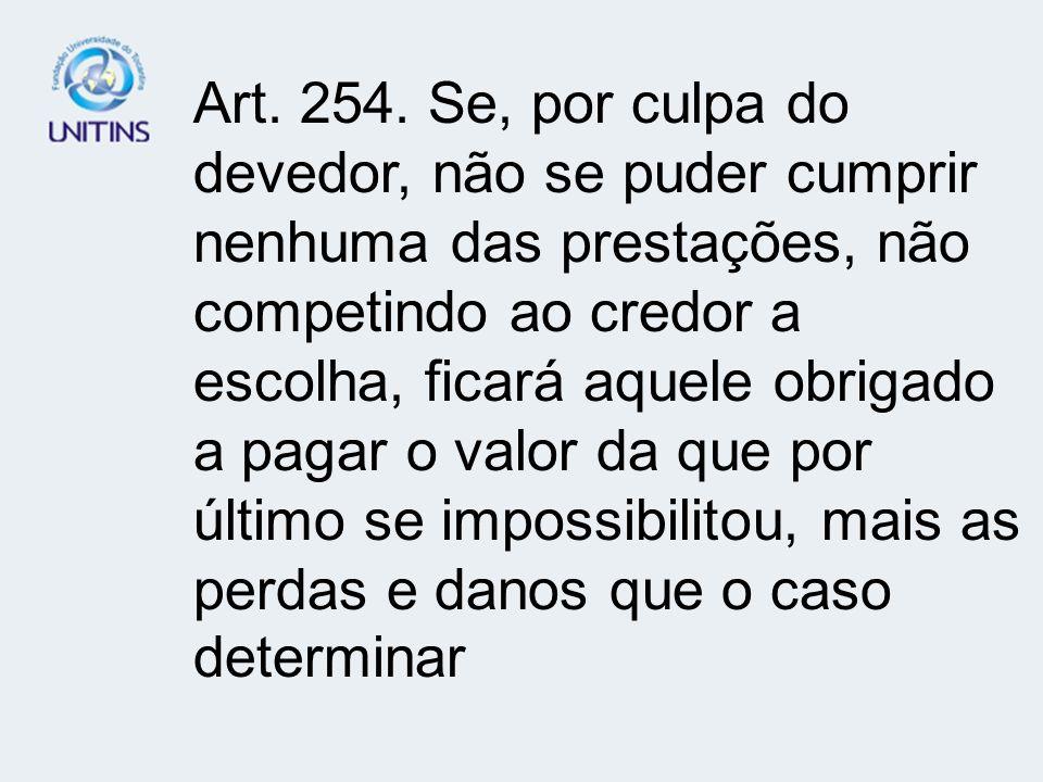 ART.256 – EXTINÇÃO DA OBRIGAÇÃO Art. 256.