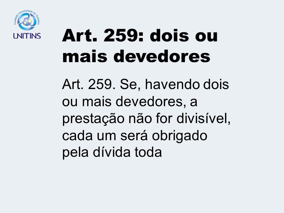 Cap.V - DAS OBRIGAÇÕES DIVISÍVEIS E INDIVISÍVEIS ART.258.