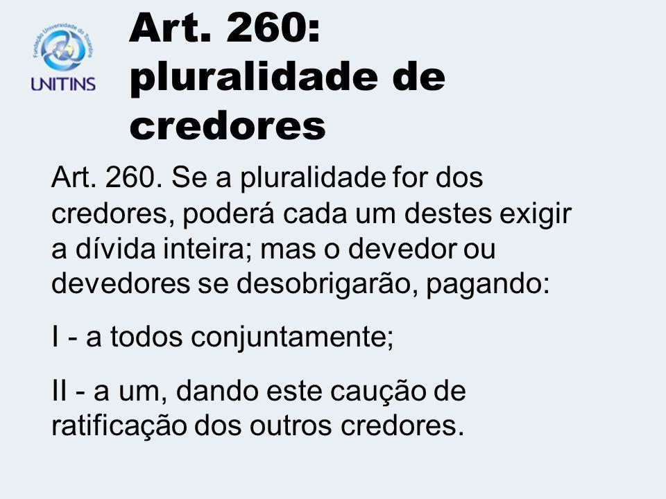 Art.259: dois ou mais devedores Art. 259.