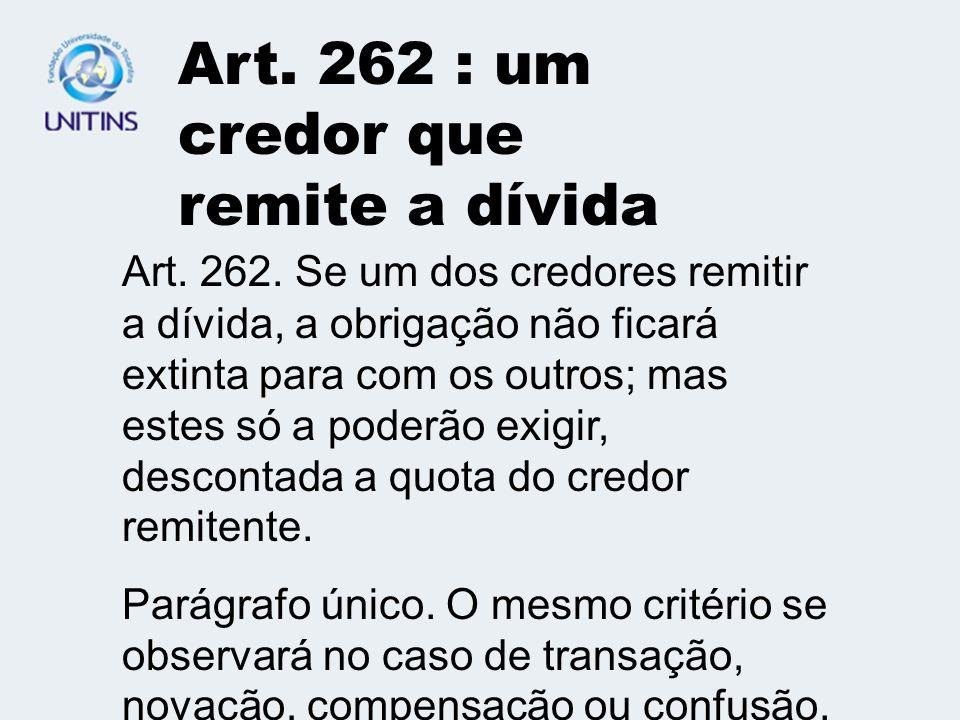 Art.260: pluralidade de credores Art. 260.