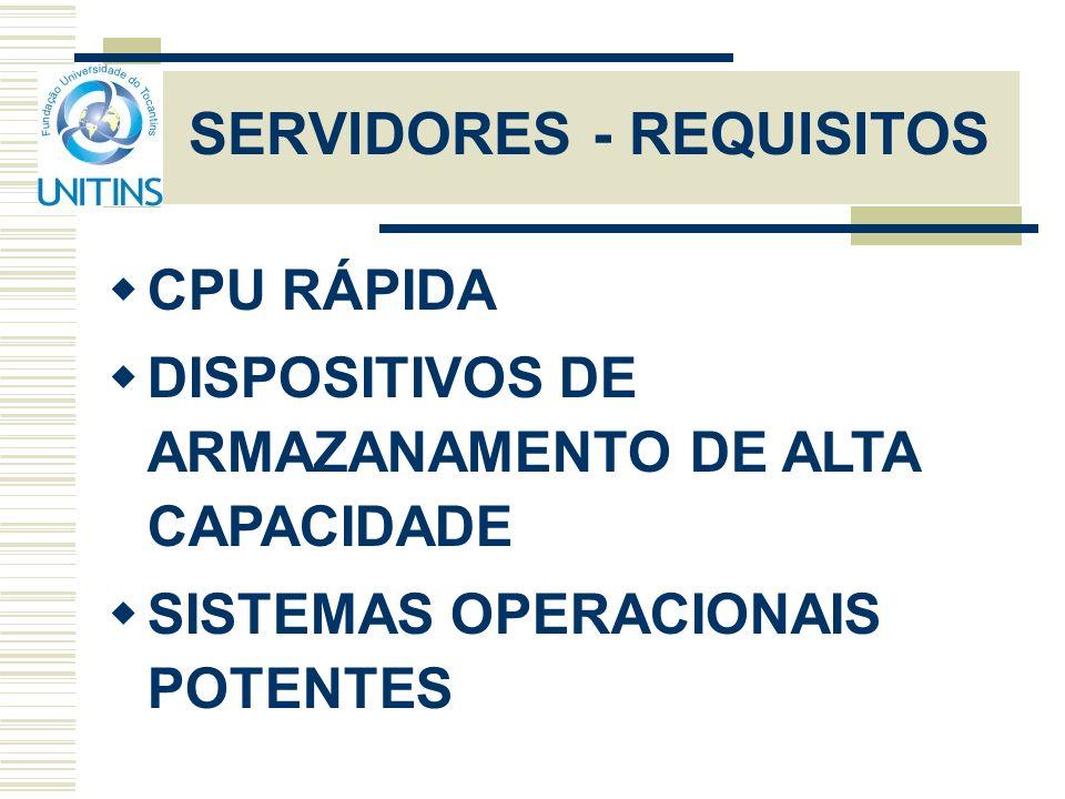 SERVIDORES - REQUISITOS CPU RÁPIDA DISPOSITIVOS DE ARMAZANAMENTO DE ALTA CAPACIDADE SISTEMAS OPERACIONAIS POTENTES