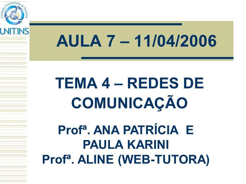 AULA 7 – 11/04/2006 TEMA 4 – REDES DE COMUNICAÇÃO Profª. ANA PATRÍCIA E PAULA KARINI Profª. ALINE (WEB-TUTORA)