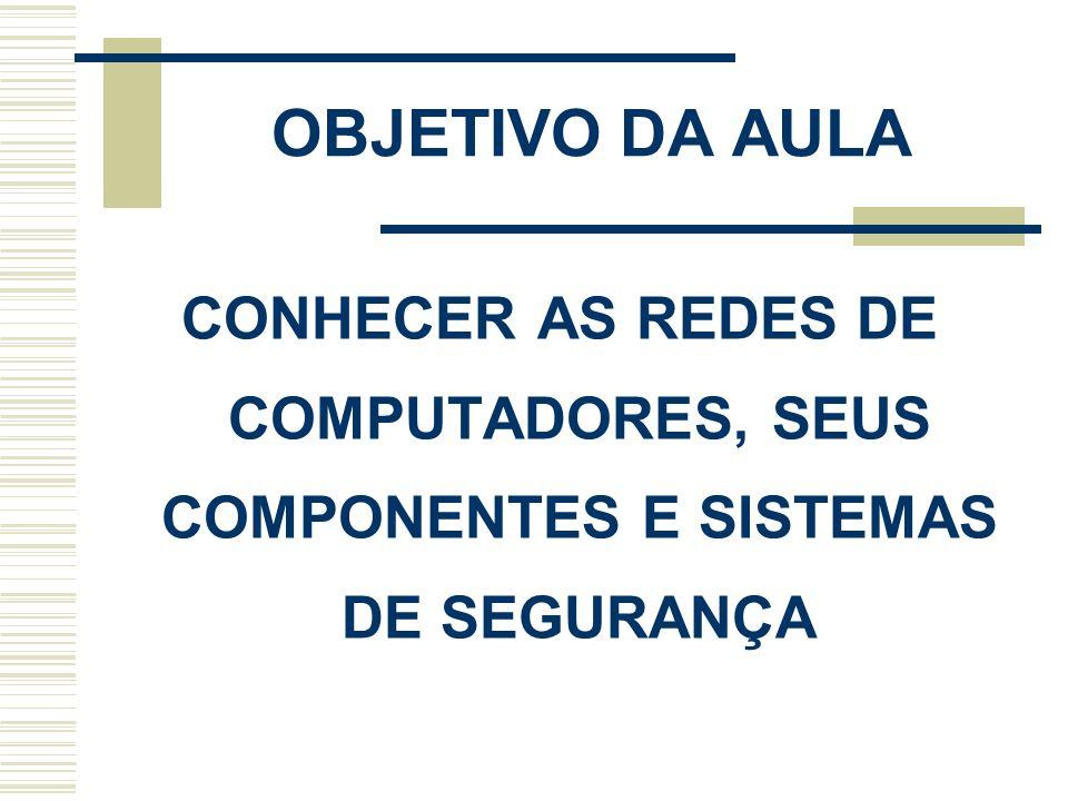 OBJETIVO DA AULA CONHECER AS REDES DE COMPUTADORES, SEUS COMPONENTES E SISTEMAS DE SEGURANÇA