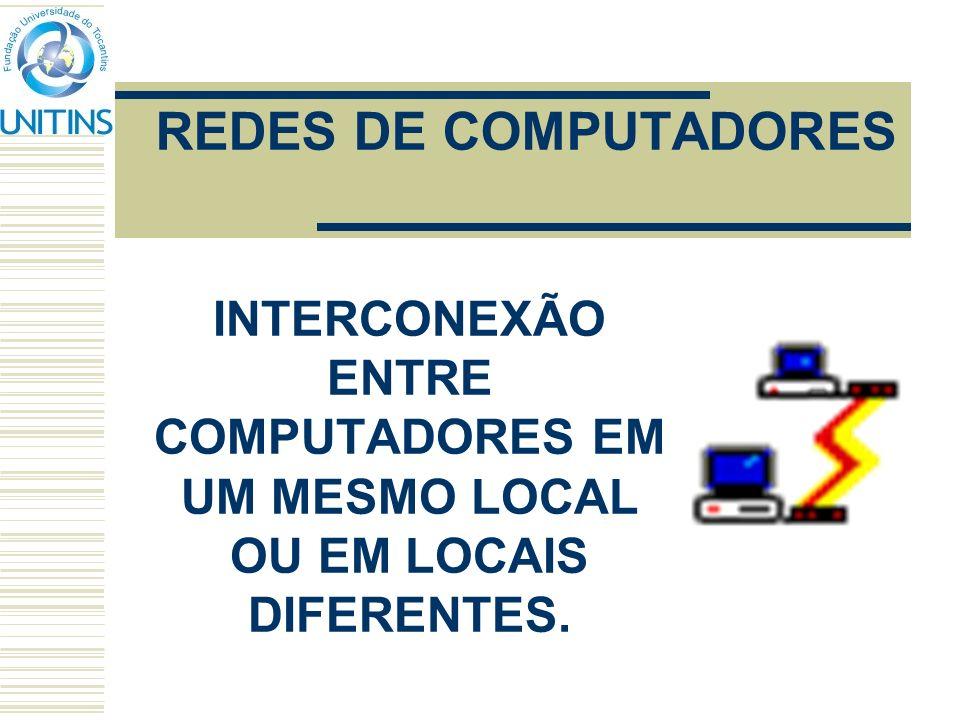 REDES DE COMPUTADORES INTERCONEXÃO ENTRE COMPUTADORES EM UM MESMO LOCAL OU EM LOCAIS DIFERENTES.
