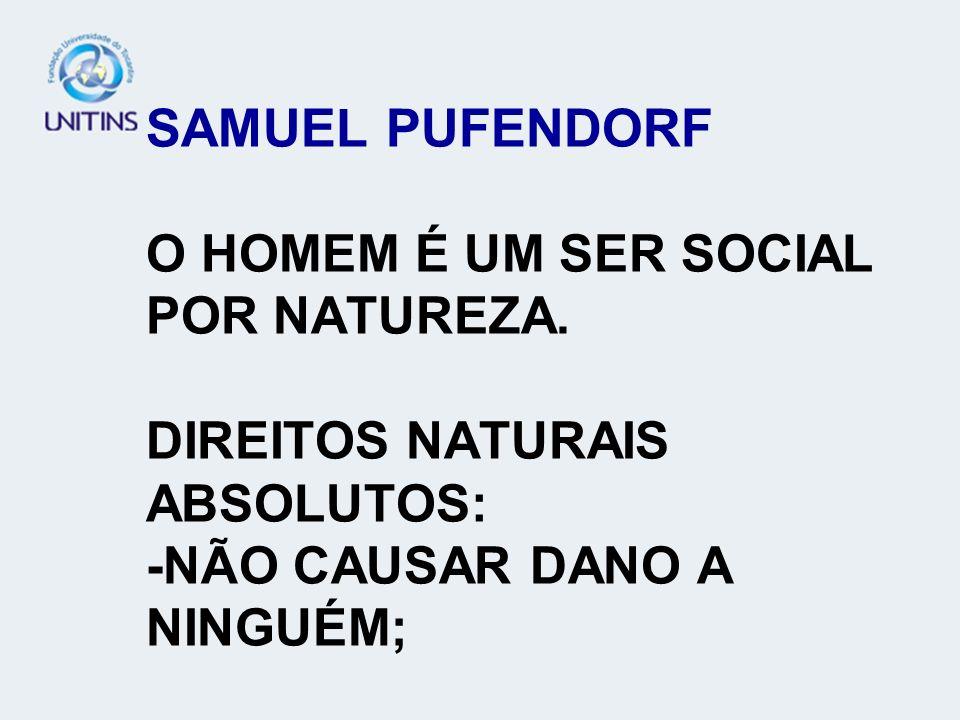 SAMUEL PUFENDORF O HOMEM É UM SER SOCIAL POR NATUREZA. DIREITOS NATURAIS ABSOLUTOS: -NÃO CAUSAR DANO A NINGUÉM;