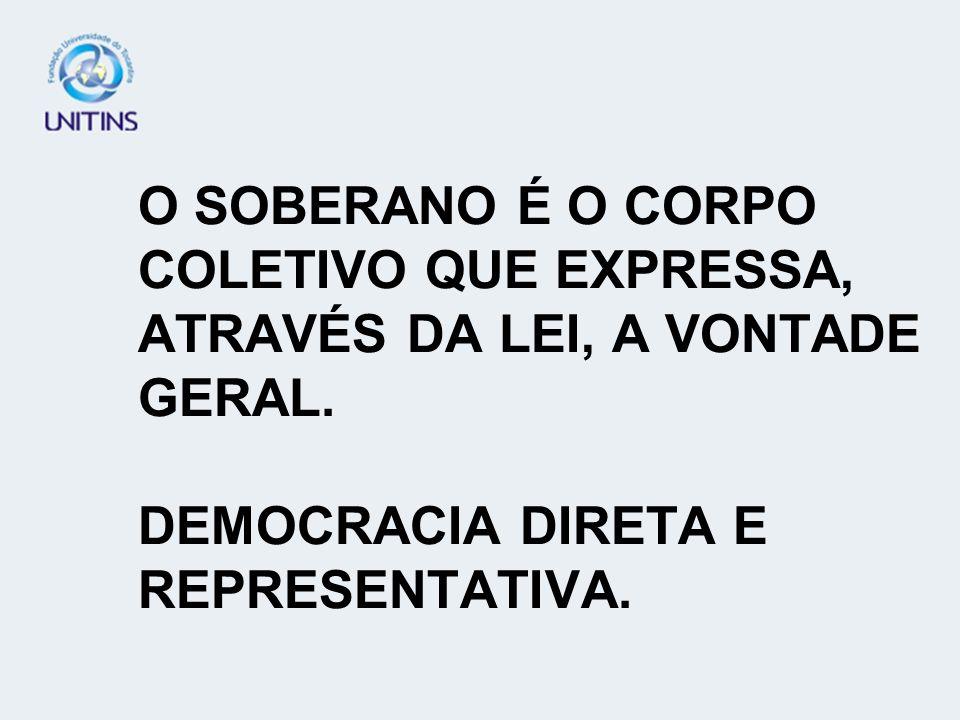 O SOBERANO É O CORPO COLETIVO QUE EXPRESSA, ATRAVÉS DA LEI, A VONTADE GERAL. DEMOCRACIA DIRETA E REPRESENTATIVA.