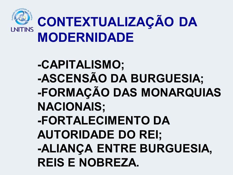 CONTEXTUALIZAÇÃO DA MODERNIDADE -CAPITALISMO; -ASCENSÃO DA BURGUESIA; -FORMAÇÃO DAS MONARQUIAS NACIONAIS; -FORTALECIMENTO DA AUTORIDADE DO REI; -ALIAN