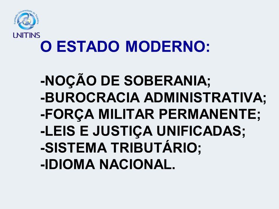 O ESTADO MODERNO: -NOÇÃO DE SOBERANIA; -BUROCRACIA ADMINISTRATIVA; -FORÇA MILITAR PERMANENTE; -LEIS E JUSTIÇA UNIFICADAS; -SISTEMA TRIBUTÁRIO; -IDIOMA