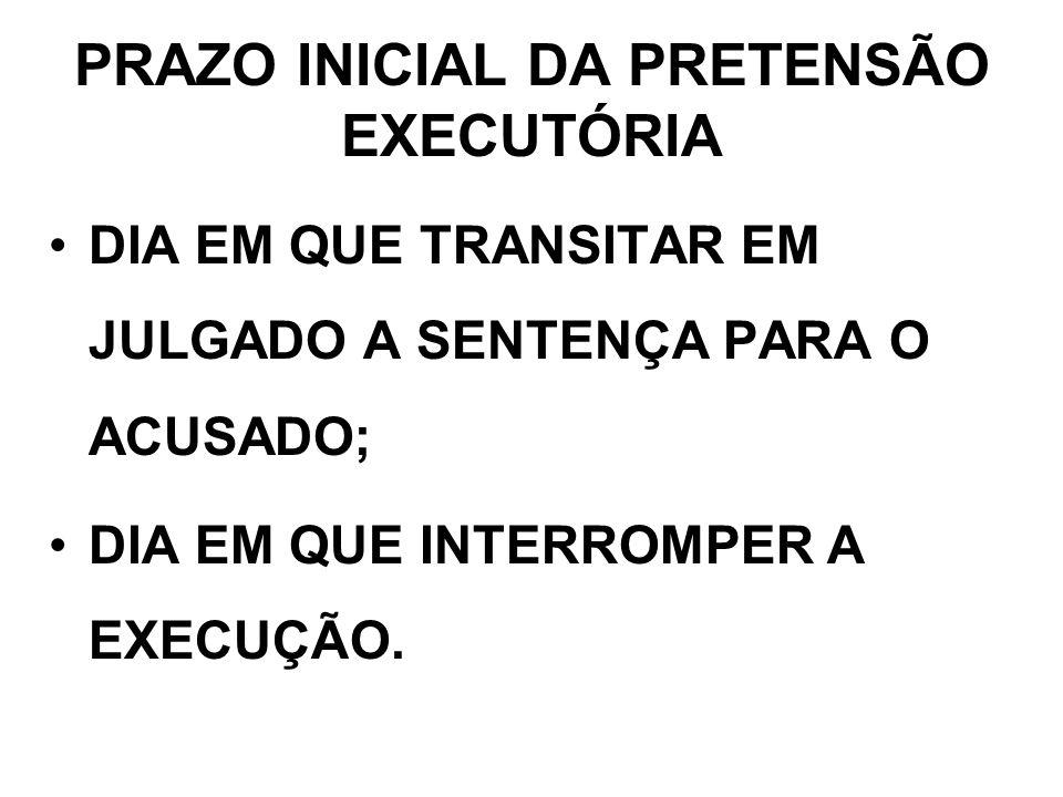 PRAZO INICIAL DA PRETENSÃO EXECUTÓRIA DIA EM QUE TRANSITAR EM JULGADO A SENTENÇA PARA O ACUSADO; DIA EM QUE INTERROMPER A EXECUÇÃO.