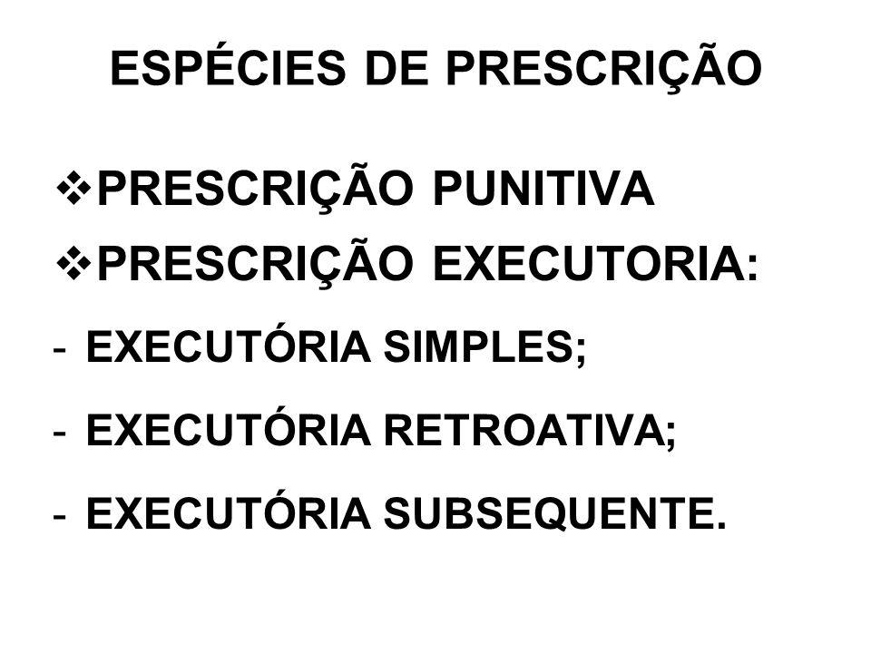 ESPÉCIES DE PRESCRIÇÃO PRESCRIÇÃO PUNITIVA PRESCRIÇÃO EXECUTORIA: -EXECUTÓRIA SIMPLES; -EXECUTÓRIA RETROATIVA; -EXECUTÓRIA SUBSEQUENTE.